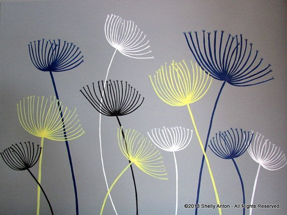 "This dandelion painting is painted in gray with navy, yellow, white and black dandelions. The canvas is 22"" x 28"". It has been sealed for protection."