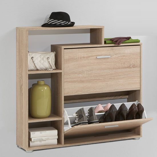 • Contemporary Shoe cabinet, shoe storage In Oak With 2 Drawer And 3 Compartments• Beautiful two flaps and three open compartments For Storage Shoe And Other item• Can Hold approx 08...