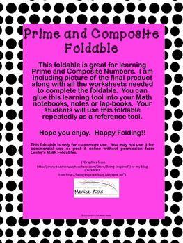 PRIME AND COMPOSITE MATH FOLDABLE - TeachersPayTeachers.com