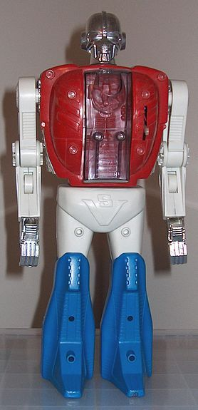 Biotron (from the Micronauts line of toys) - Could be taken apart and built in different ways. Make a tank, robot, spaceship etc. It was battery powered and had tank treads underneath. You could also place one of the smaller action figures into the chest.