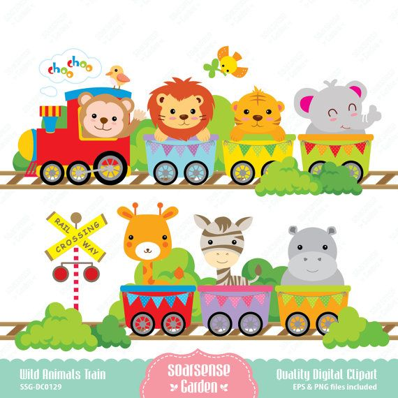 Wild Animals Train Digital Clipart by SSGARDEN on Etsy, $3.99