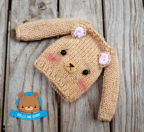 Bear mohair sweater for Neo Blythe Licca Obitsu Pullip por Mitilene