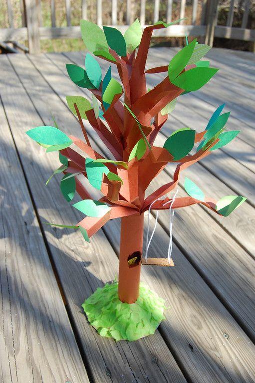Boom gemaakt van papier, lijkt mij super om er en herfst variant van te maken!