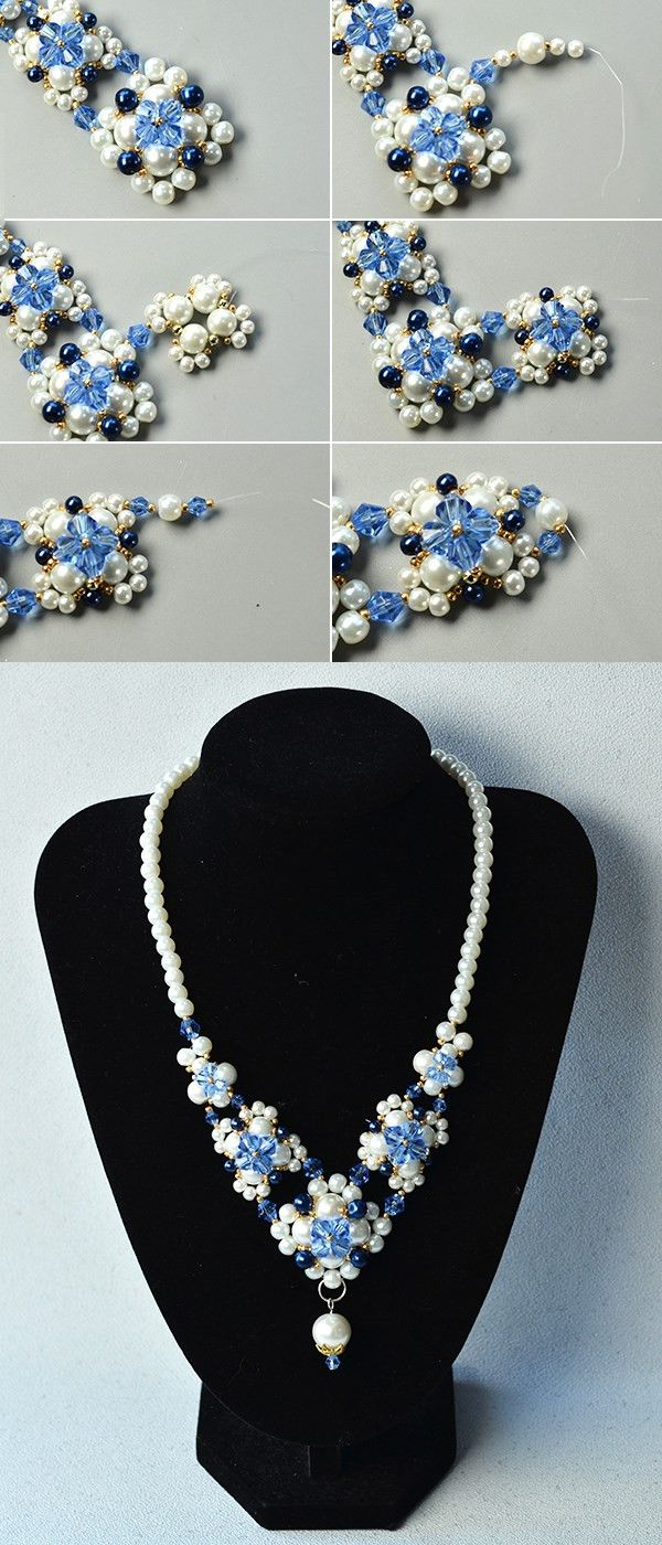 Like the white pearl and blue glass beads necklace?The tutorial will be shared by LC.Pandahall.com soon.