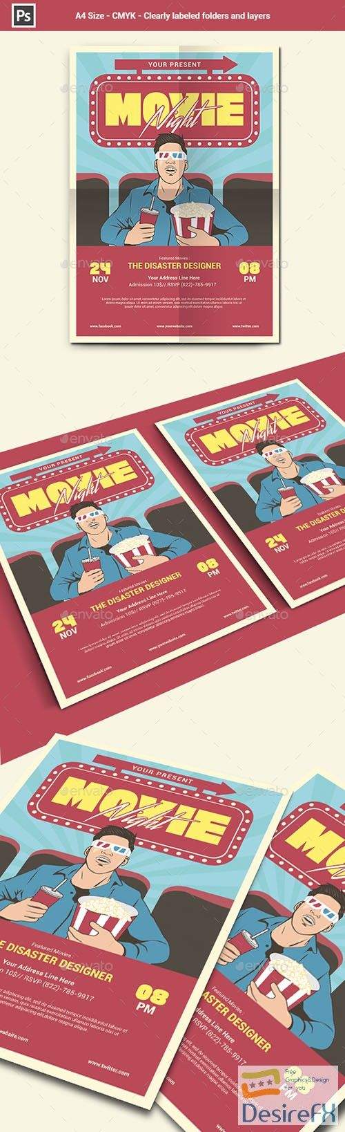 Movie Night Flyer Template   GraphicsDesign For Web