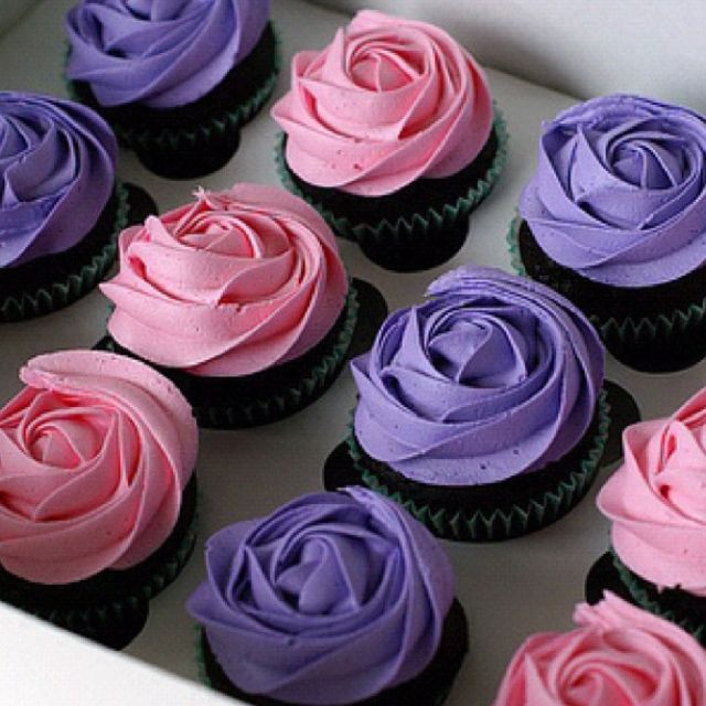 pink and purple rose chocolate cupcakes pink and purple