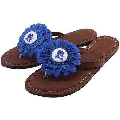 Duke Blue Devils Womens Daisy Flower Sandals - Brown