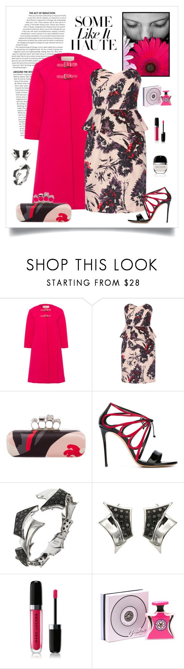 """Mikael Aghal Printed Cotton Peplum Dress"" by romaboots-1 ❤ liked on Polyvore featuring Marina Hoermanseder, Mikael Aghal, Alexander McQueen, Casadei, Botta Gioielli, Marc Jacobs and Bond No. 9"