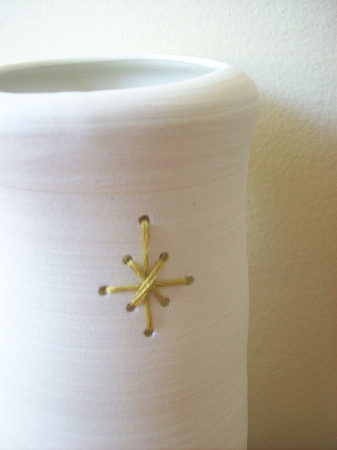 stitched pot, another decorating element for pottery pieces. You never stop learning.