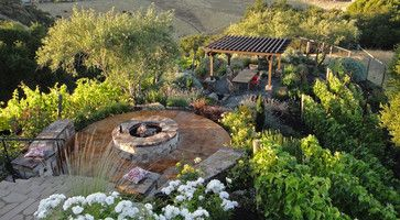 Outdoor living set in a vineyard with a pergola, fire pit, & landscape lighting - traditional - landscape - san francisco - Alder Group, Poo...