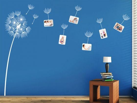 Wandtattoo Fotorahmen Pusteblume mit 6 Bilderrahmen, die man ganz nach eigenen Wünschen auf der Wand verteilen kann.