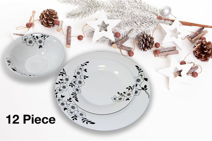 Porcelain 12pc Dinner Set deal in Crockery Get a 12-piece dinner set.  Includes four dinner plates, four side plates and four bowls.  As well as four place settings.  Dishwasher and microwave safe.  Designed in a bright white colour with contrasting black flower motifs.  A delightful dinner set for any home! Check more at http://nationaldeal.co.uk/porcelain-12pc-dinner-set-deal-in-crockery/