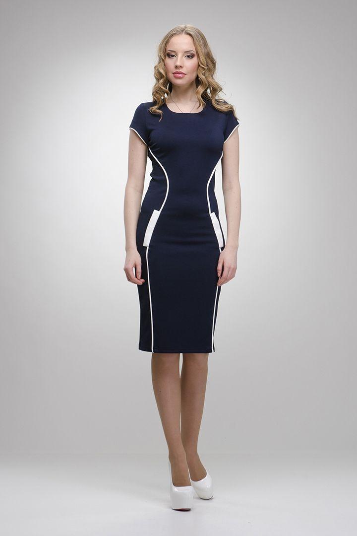 Модная дизайнерская одежда от ✿ ♥ Enna Levoni ♥ ✿ Синее с белым платье арт.3022 купить в интернет магазине женской одежды с доставкой.  Enna Levoni - модная и недорогая одежда для Вас.