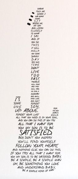 Simple Man Lyrics in Guitar Wall Decal Custom Vinyl by danadecals
