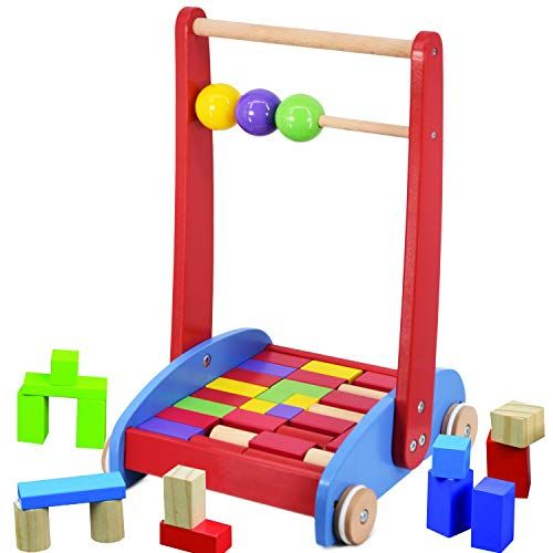 Baby Walker Activity Wooden Bricks Blocks Cart Abacus Learning