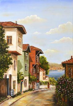 yağlıboya eski istanbul sokakları ile ilgili görsel sonucu