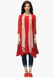 Admyrin Red Solid Tunic With Stole Online Shopping Store