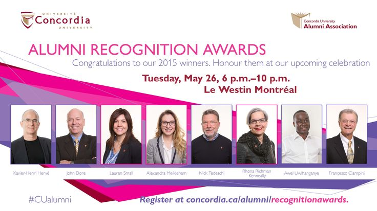 These eight outstanding Concordians are definitely worth meeting in person:  Tickets are going fast! Get yours today!!! http://bit.ly/1bBgb1i   Read more about this year's award recipients: http://bit.ly/1rsSISa   ‪#‎CUAlumni‬