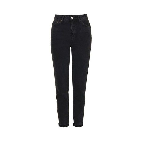 Topshop Moto Washed Black Mom Jeans (€22) ❤ liked on Polyvore featuring jeans, pants, bottoms, jeans/pants, washed black, topshop jeans, cuffed skinny jeans, cuff jeans, folded jeans and high rise skinny jeans