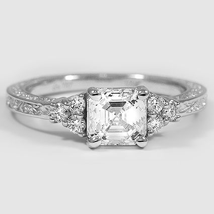 18K White Gold Adorned Trio Diamond Ring // Set with a 1.20 Carat, Asscher, Ideal Cut, F Color, VS2 Clarity Diamond #BrilliantEarth