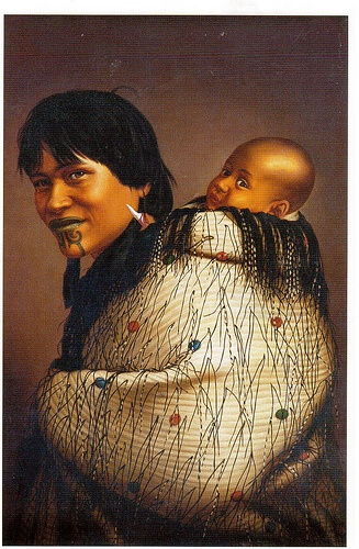 "New Zealand Natives - ""Ana Rupene and Child"" - painting by Gotfried Lindauer (1839 - 1926)."