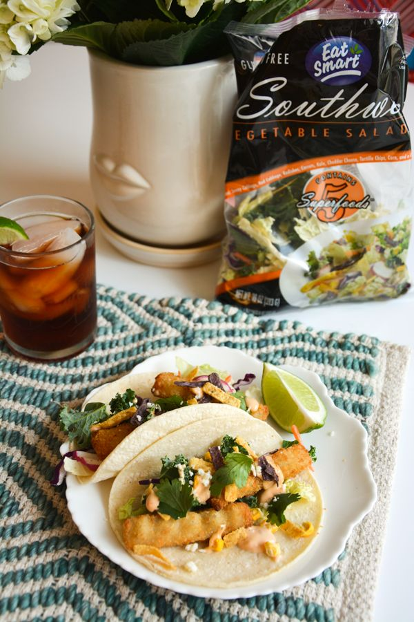 Even your kids will love this fish stick taco recipe! Using a gourmet vegetable salad kit makes this a quick lunch idea! It works for a quick weeknight meal, or lunch at home! EatSmartVeggies ad