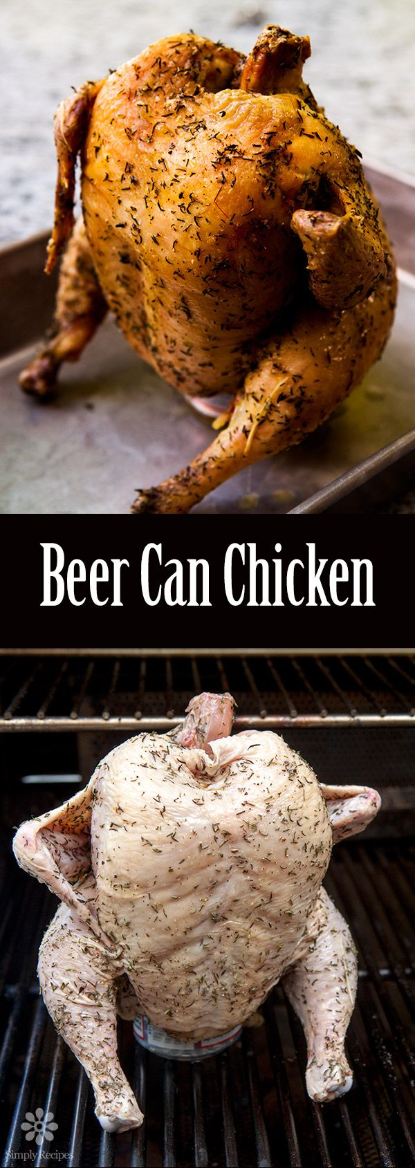 Beer Can Chicken ~ Tender, falling-off-the-bone, moist on the inside, crispy on the outside. That's what you get with beer can chicken (also known as beer butt chicken). ~ SimplyRecipes.com
