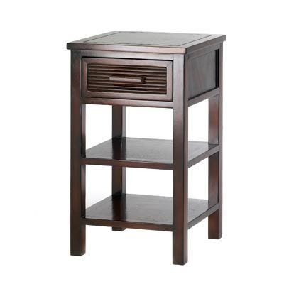 """UPC: #d1141 Add casual sophistication to any décor from classic to modern with this simply stylish table! A handsome addition to your favorite room, with an ample drawer and two open shelves for easy storage.    Weight 15.6 lbs. 15"""" square x 25"""" high. Wood and veneer board. $95 (plus tax/shipping). - to place an order for this product, contact us at asimpletouchgallery@gmail.com"""