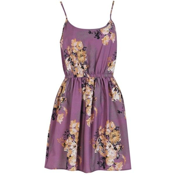 Boohoo Phoebe Oriental Flower Strappy Dress (260 MXN) ❤ liked on Polyvore featuring dresses, vestidos, casual dress, strap dress, flower dress, blossom dress, purple dress and purple flower dress