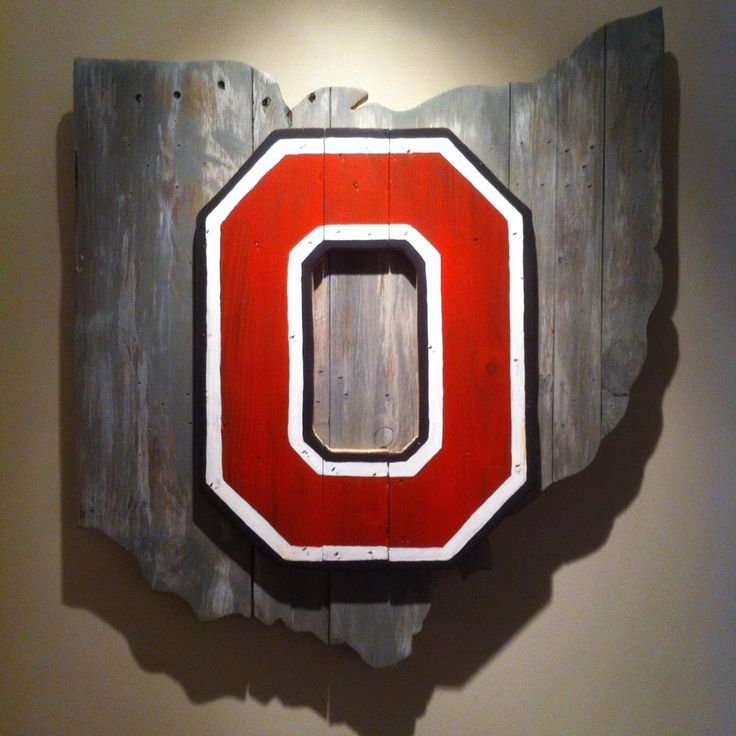 Wooden State of Ohio with Ohio State logo by CampgroundProduction on Etsy https://www.etsy.com/listing/224546598/wooden-state-of-ohio-with-ohio-state