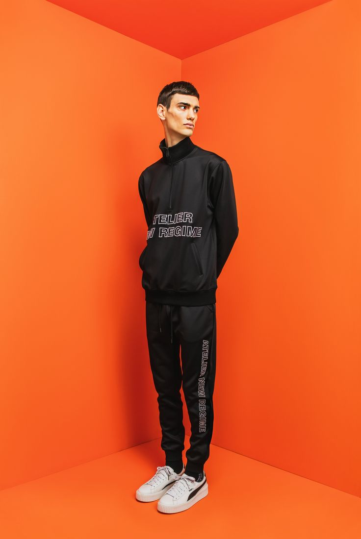 Atelier New Regime Pre-Fall '17 Lookbook | Logo Track Jacket in black paired