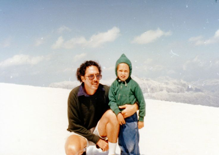 Emily and I in the summer snow on the Dolomites