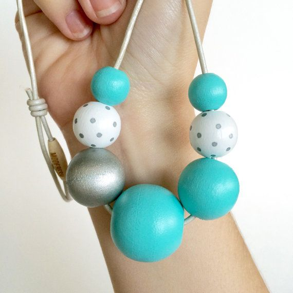 Hand painted wooden bead necklace in TIFFANY BLUE by MODFRESH  www.modfreshstyle.com