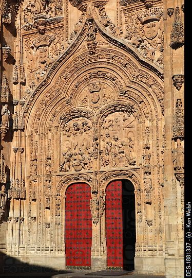 main entrance to the old cathedral catedral vieja, salamanca, salamanca province, spain
