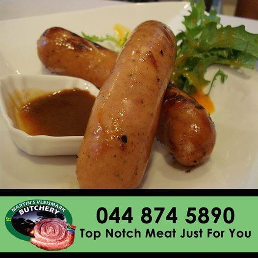 Come down to Martin's Vleismark and try out our delicious cheese sausages. #sausages #butchery #martinsvleismark
