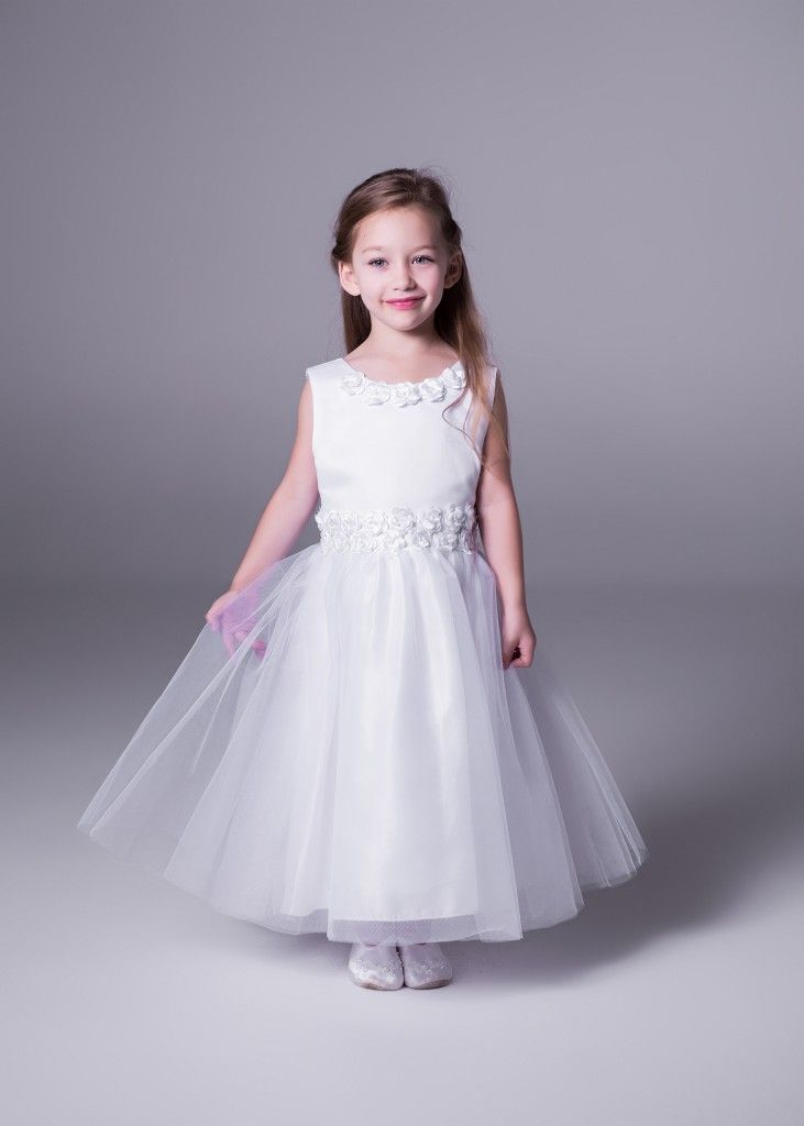 The secret to cute? Definitely Tulle! Once your little angel puts this on, we can guarantee there will be tears :) Get to Bride&co stores for this rose waistline & tulle flowergirl dress (style 2695). Click to View more or Book a Free Fitting.