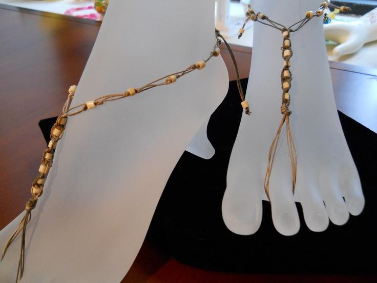 Barefoot jewelry - hemp and bone beads