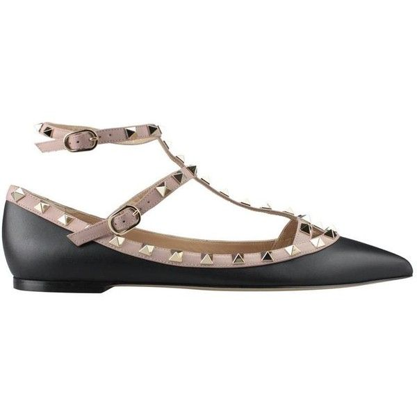Valentino Garavani Black leather Rockstud flats (1 700 BGN) ❤ liked on Polyvore featuring shoes, flats, black, leather shoes, valentino flats, valentino shoes, flat shoes and black leather flats