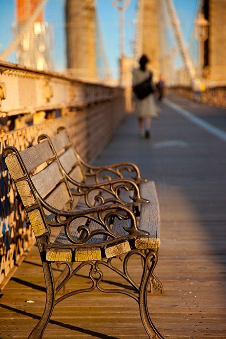 Park bench on the Brooklyn Bridge, New York