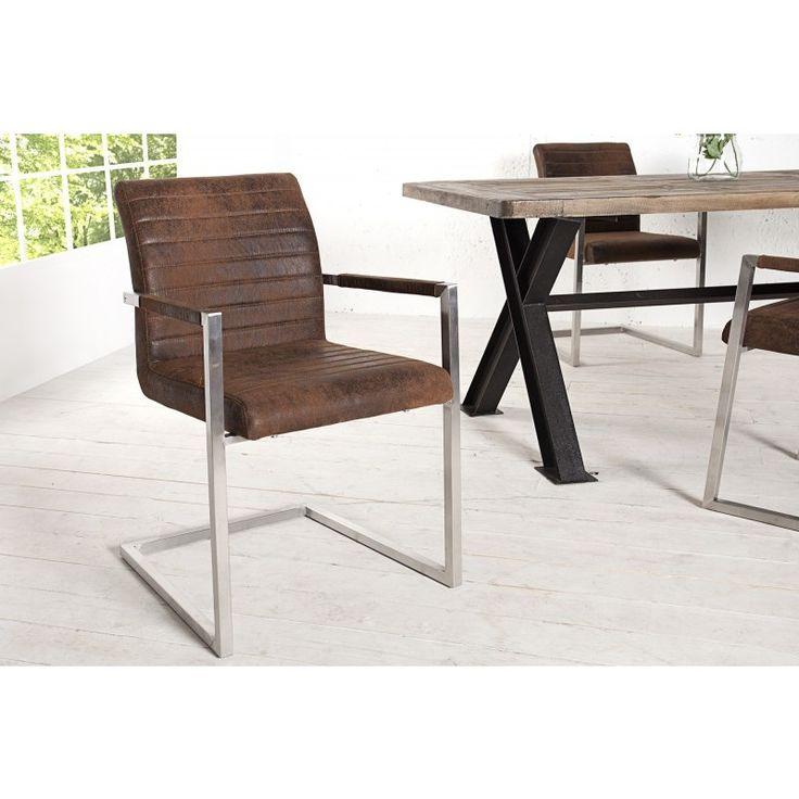 Moderne vrijdragende zweefstoel empire vintage koffie - 35556