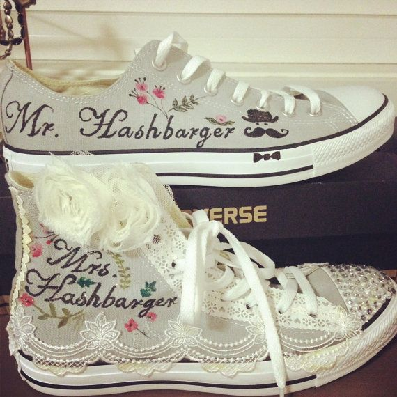 Hand Painted CONVERSE All Star Shoes Wedding Style by ConverseFans