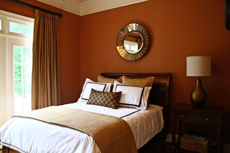 accent orange color bedrooms | Guest Bedroom Makeover in Raleigh, NC Bedford | Design Lines, Ltd.