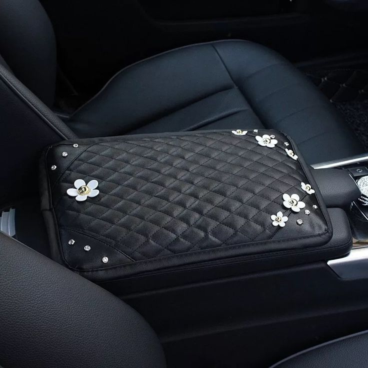 Black Leather Bling Car Center Console Cover With Small