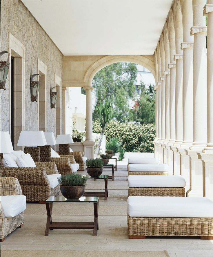 Arches And Columns Like What Our Porch Will Have Look Great With Wicker Furniture The Hermitage Hotel Hospes Maricel Spa Mallorca Spain