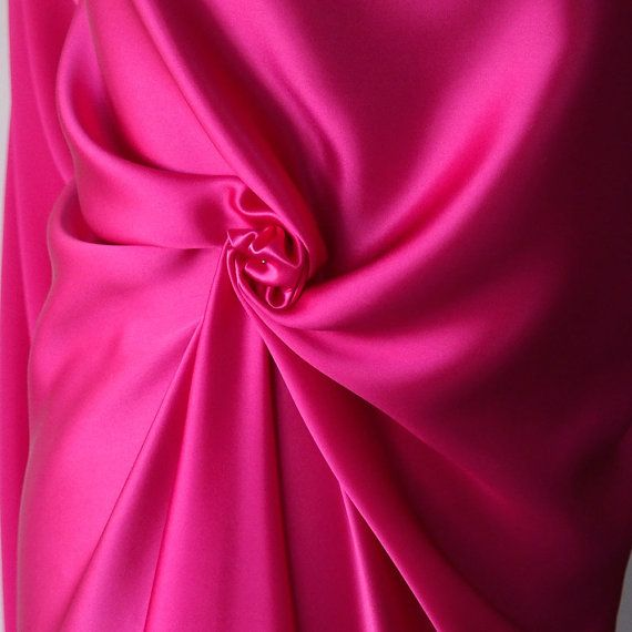 fuchsia pink magenta satin fabric pure silk bright pink satin
