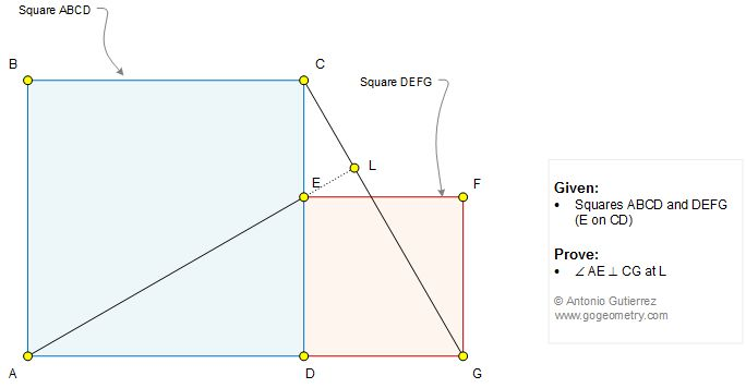 Geometry Problem 1327: Two Squares Side by Side, Perpendicular, 90 Degrees, Angle.