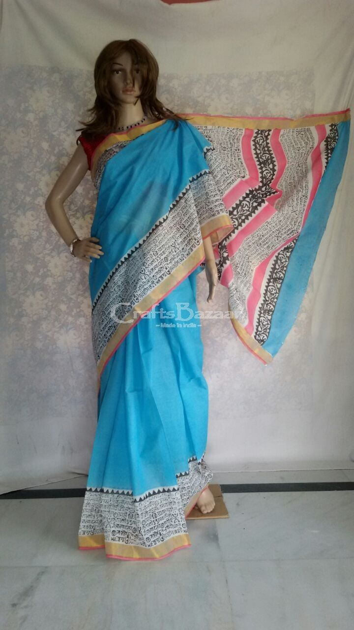 Signature  Kerala Cotton Saree in blue color which is  hand woven and block printed in perfection by the artisan with golden color border is must have for your wardrobe #craftsofindia #indianhandicrafts #madeinindia #craftsbazaar #artsandcrafts #handmade