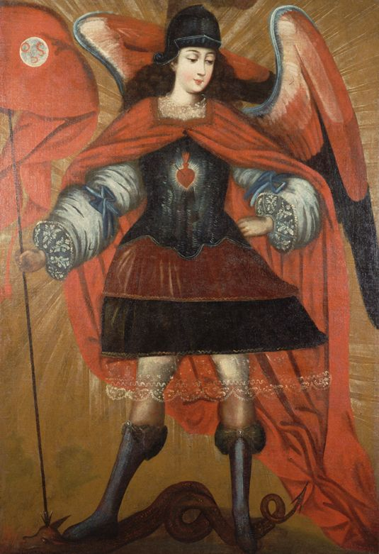 """Chinese New Year — Dragon;   Artist unknown (Bolivian, 18th century), Saint Michael (San Miguel),"""" late 18th century, oil on canvas, Joslyn Art Museum, Omaha, Nebraska, Gift of Mr. and Mrs. Frederick H. Lowell, 1965.667"""