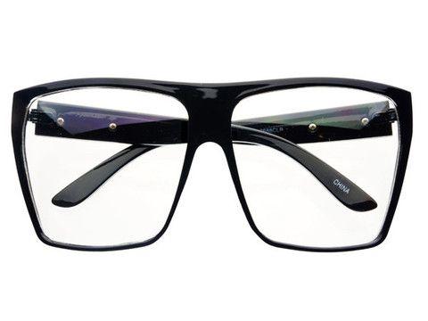 Large Square Flat Top Glasses Frames Black FT311