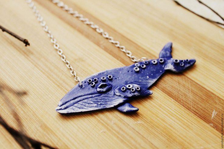 """Купить Подвеска """"Кит"""" из полимерной глины - голубой, однотонный, океан, водоросли, животное, природа"""